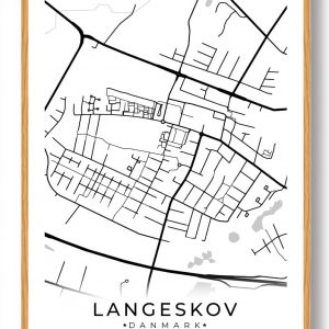 Langeskov byplakat - hvid