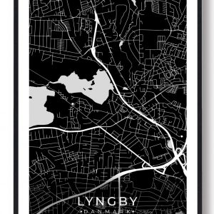 Lyngby byplakat - sort