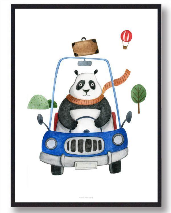 Panda i bil - håndtegnet plakat