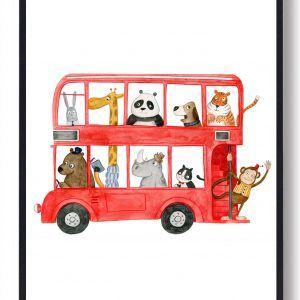 Rød bus med dyr - håndtegnet plakat