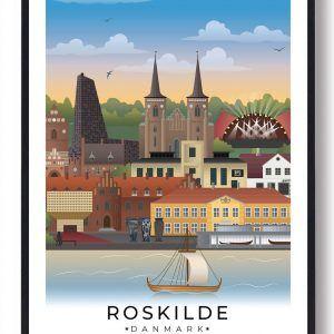 Roskilde byplakat med hvid kant