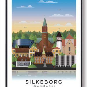Silkeborg byplakat med hvid kant