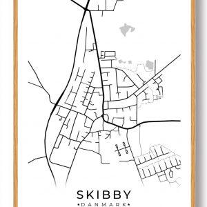 Skibby byplakat - hvid