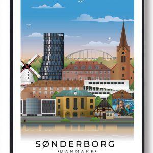 Sønderborg byplakat med hvid kant