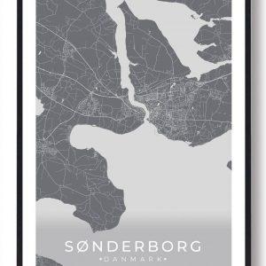 Sønderborg plakat - grå