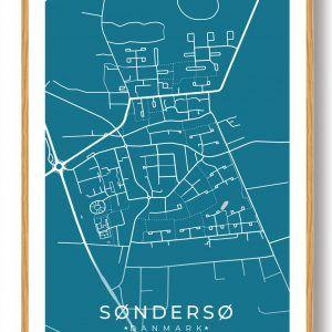 Søndersø byplakat - blå
