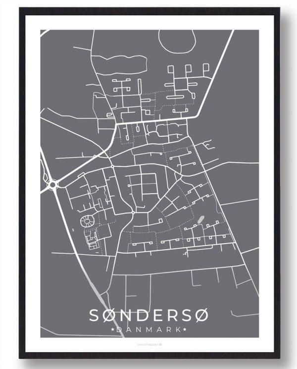 Søndersø byplakat - grå