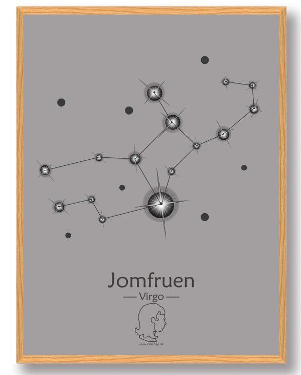 Stjernebillede jomfruen (grå) - plakat