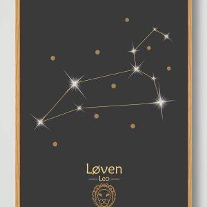 Stjernebillede løven (sort) - plakat