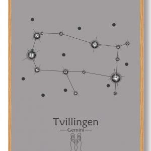 Stjernebillede tvillingen (grå) - plakat