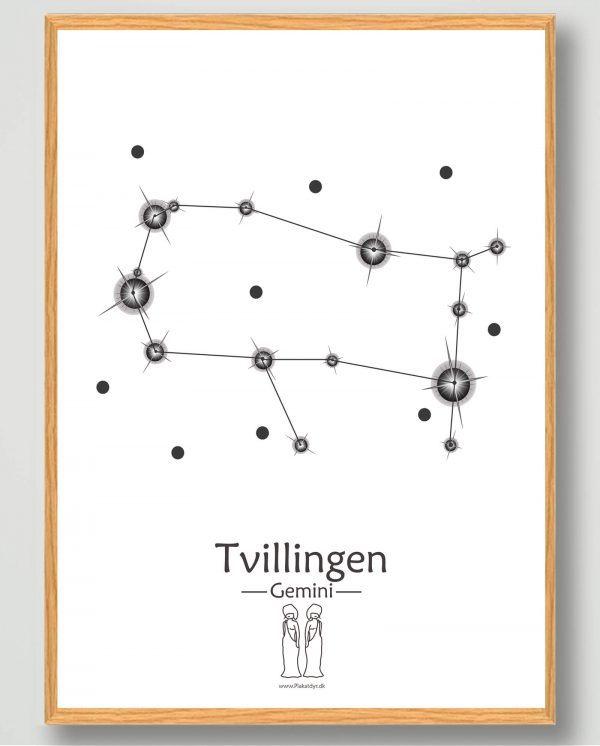 Stjernebillede tvillingen (hvid) - plakat