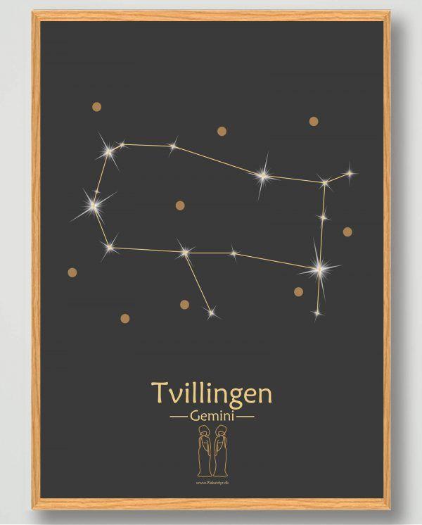 Stjernebillede tvillingen (sort) - plakat