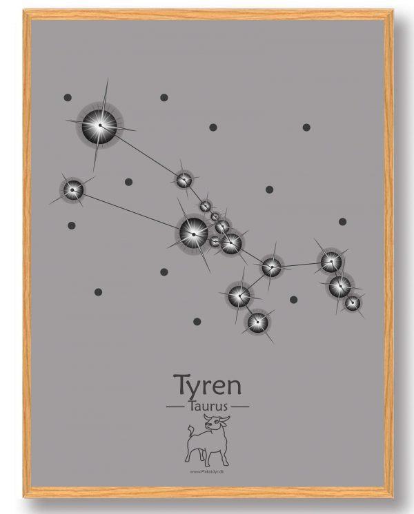 Stjernebillede tyren (grå) - plakat