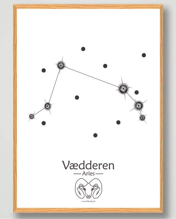 Stjernebillede vædderen (hvid) - plakat