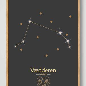 Stjernebillede vædderen (sort) - plakat