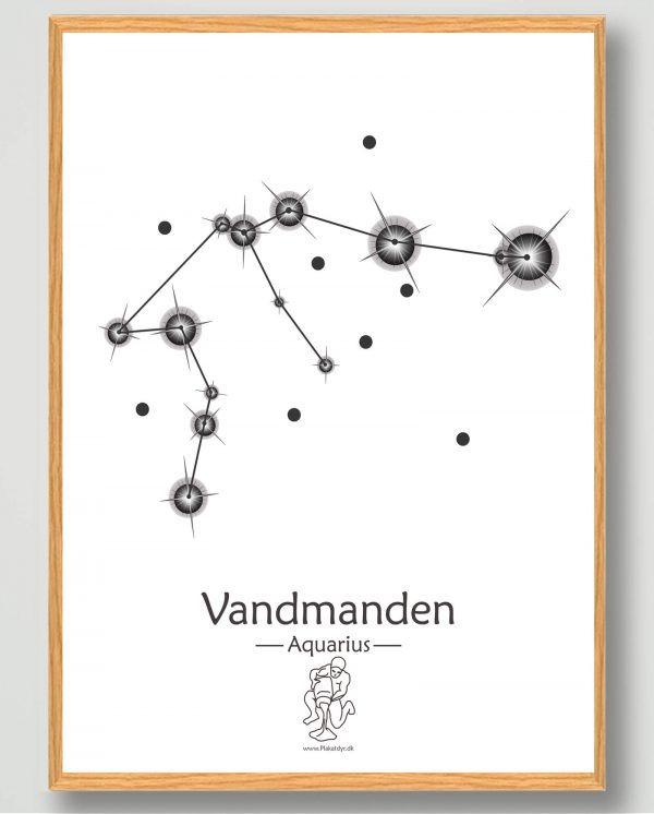 Stjernebillede vandmanden (hvid) - plakat