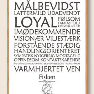 Stjernetegn fisken (hvid) - plakat