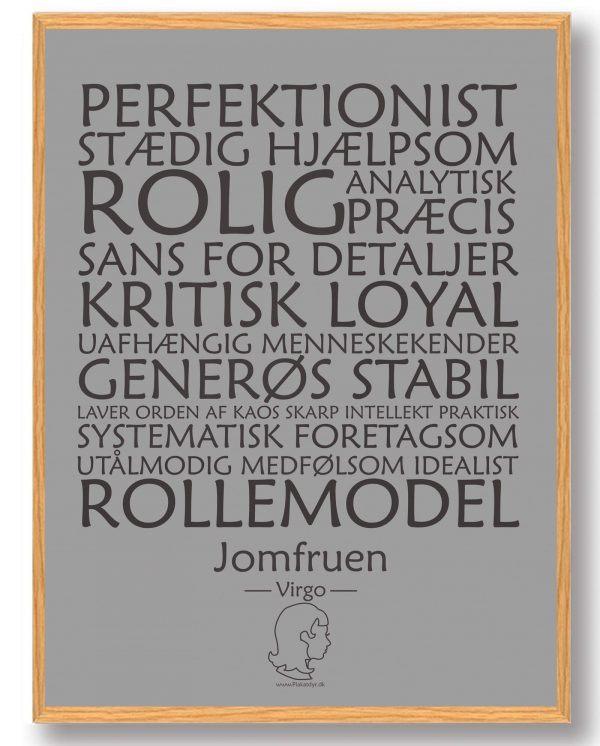 Stjernetegn jomfruen (grå) - plakat