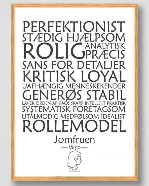 Stjernetegn jomfruen (hvid) - plakat
