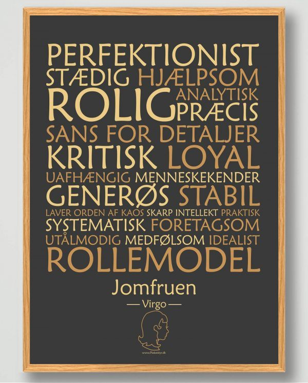 Stjernetegn jomfruen (sort) - plakat