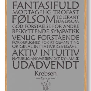 Stjernetegn krebsen (grå) - plakat
