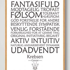 Stjernetegn krebsen (hvid) - plakat