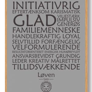 Stjernetegn løven (grå) - plakat