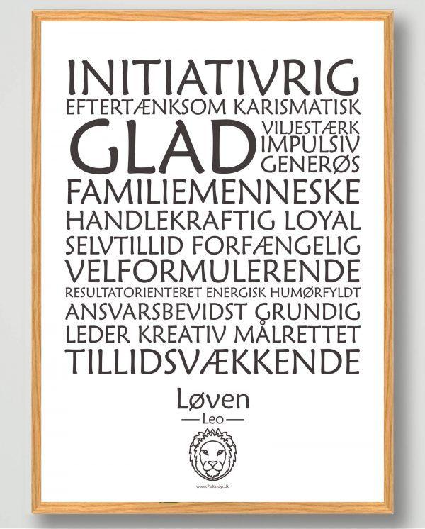 Stjernetegn løven (hvid) - plakat