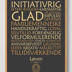 Stjernetegn løven (sort) - plakat