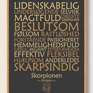 Stjernetegn skorpionen (sort) - plakat