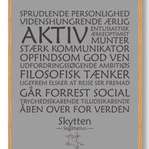Stjernetegn skytten (grå) - plakat