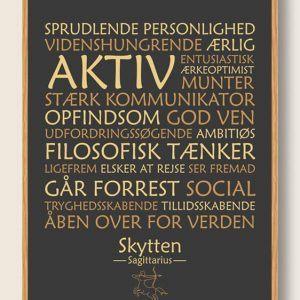 Stjernetegn skytten (sort) - plakat