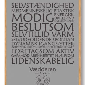 Stjernetegn vædderen (grå) - plakat