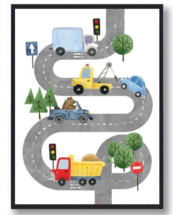 Vejplakat med biler - håndtegnet plakat