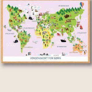 Verdenskort for børn - plakat