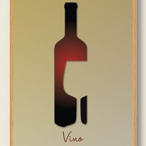 Vinflaske og glassilhuet - plakat