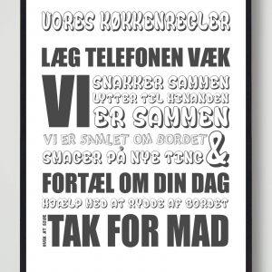 Vores køkkenregler (Hvid) - plakat