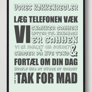 Vores køkkenregler (Mint) - plakat