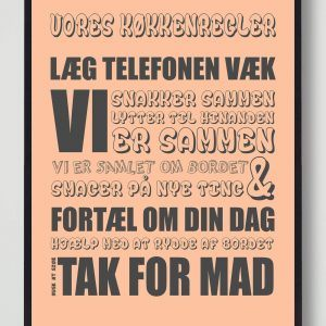 Vores køkkenregler (Orange) - plakat