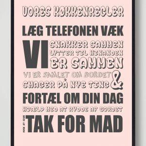 Vores køkkenregler (Rosa) - plakat