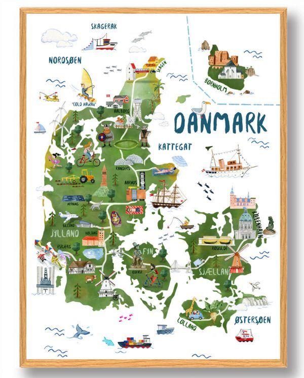 Danmarkskort - håndtegnet plakat
