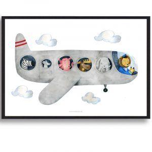 Flyvemaskine - håndtegnet plakat