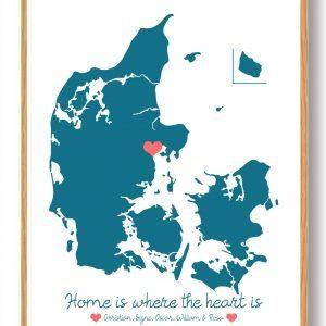 Personligt Danmarkskort plakat - blå