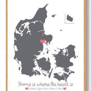Personligt Danmarkskort plakat - grå