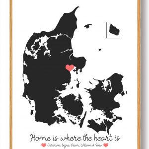 Personligt Danmarkskort plakat - sort
