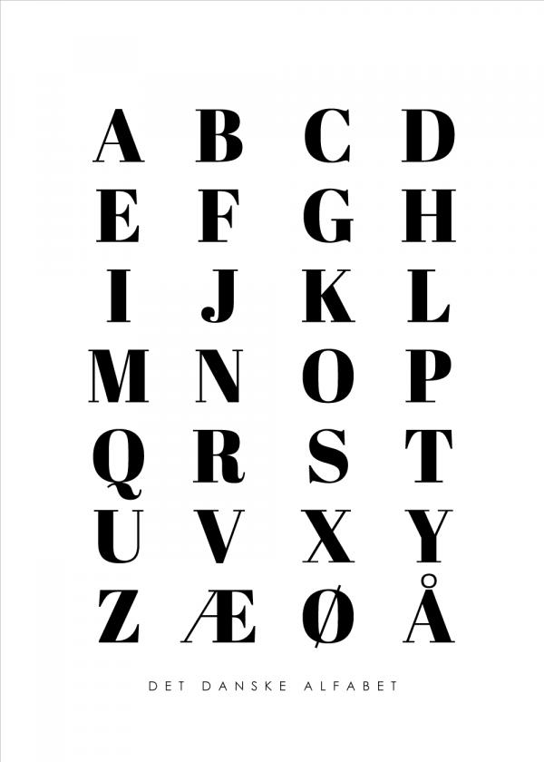Alfabet plakat - Hvid