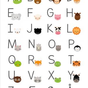 Alfabet plakat med dyr til børn