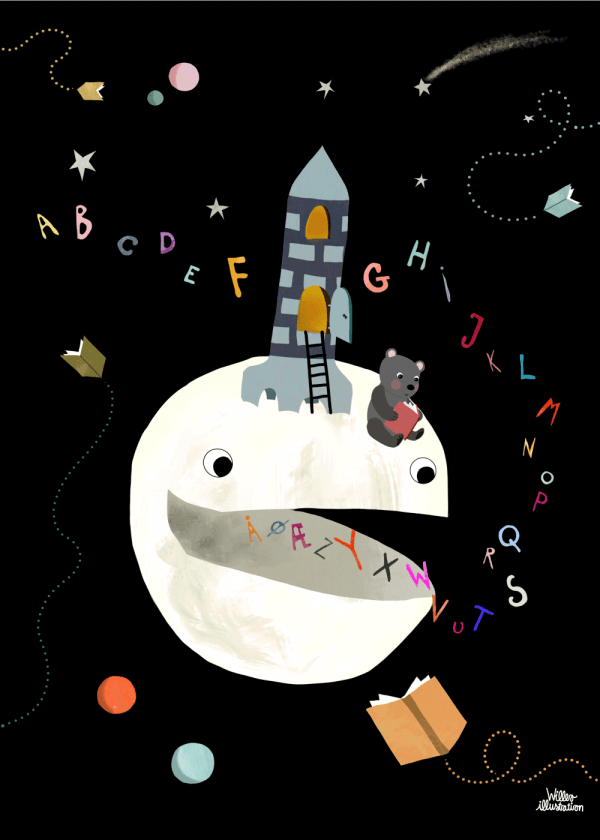 Alfabet planeten - Børneplakat