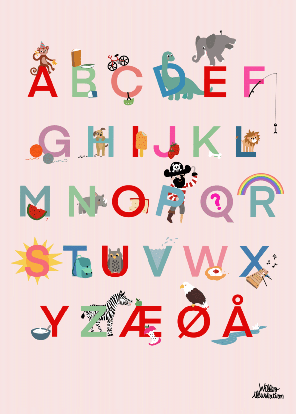 Børne alfabet plakat - Børneplakat