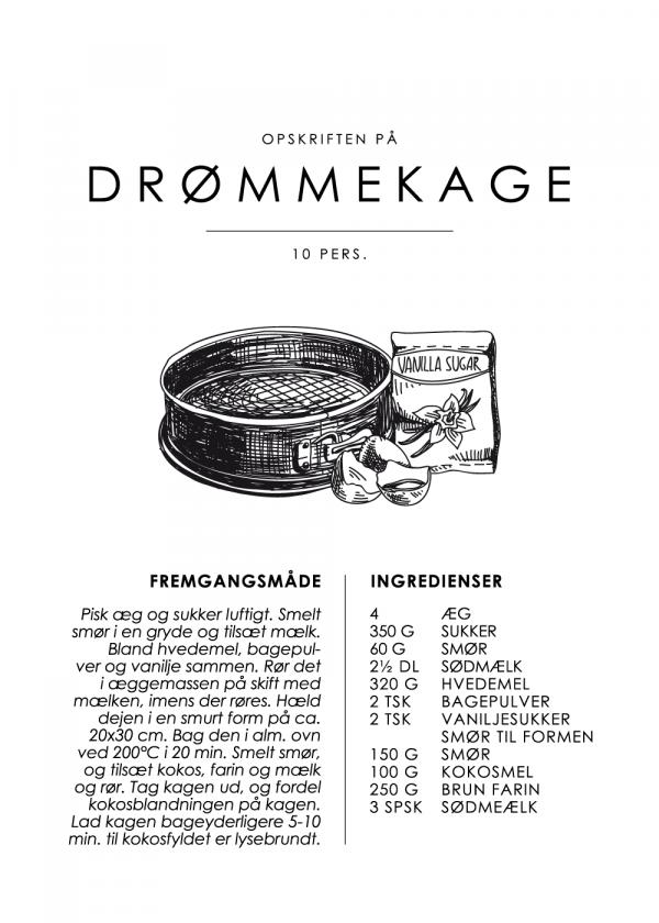 Drømmekage opskrift - Kage guide plakat